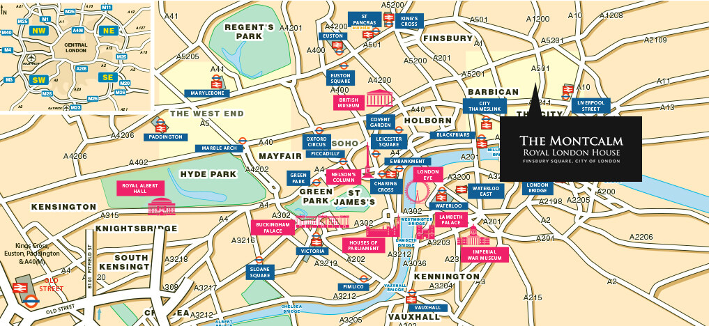 London City Area Map.Location Map Montcalm Royal London House City Of London